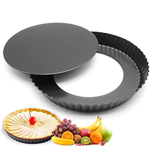 Taartvorm, heerlijke fruitcakevorm 22 cm, quiche vorm van staal met antiaanbaklaag, bakvorm met hefbodem, golfrand…
