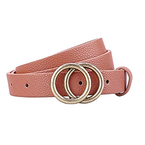 (Gackoko Women Leather Belt for Dress & Jeans Fashion Soft Leather with Double O-Ring Buckle (L:fits waist from 31