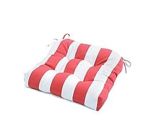 "Greendale Home Fashions 20"" Cabana Stripe Outdoor Chair Cushion Red"