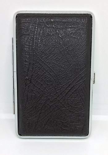 Texured Design - Fujima Brown Texured Design Silver Framed PU Leather 100s Cigarette Case