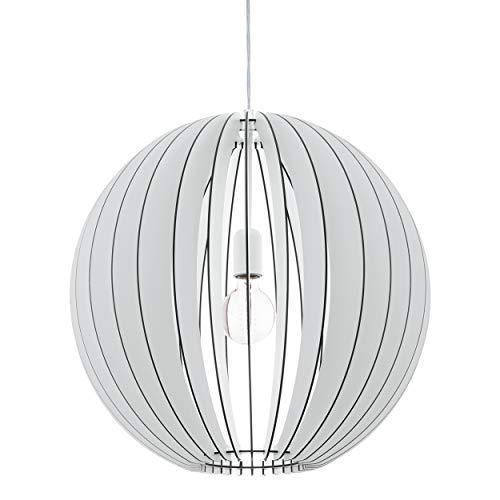 EGLO Houten hanglamp Cossano, 1 vlam moderne hanglamp, hanglamp van hout en staal, kleur: wit, fitting: E27, Ø: 50 cm