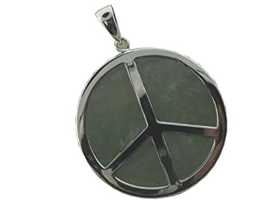 Amazon light green jade world peace pendant 925 sterling light green jade world peace pendant 925 sterling silver aloadofball Choice Image