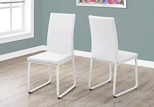 BESTSOON Matstolar 2 delar metall bent PU-läder modern matstolsuppsättning kommer enkelt att få dig att äta med stil - vit för matsal, vardagsrum, kök