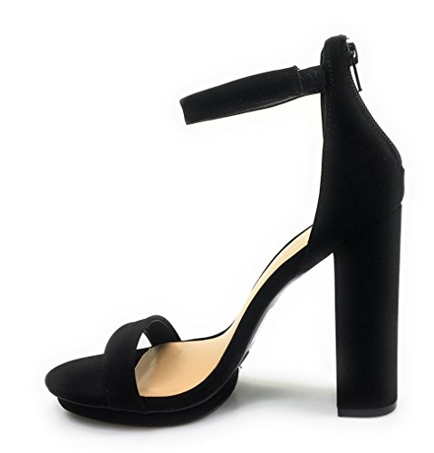 Bamboo Rampage 04 Womens Single Band Chunky Heel Sandal With Ankle Strap (9, Black Nu-Buck)