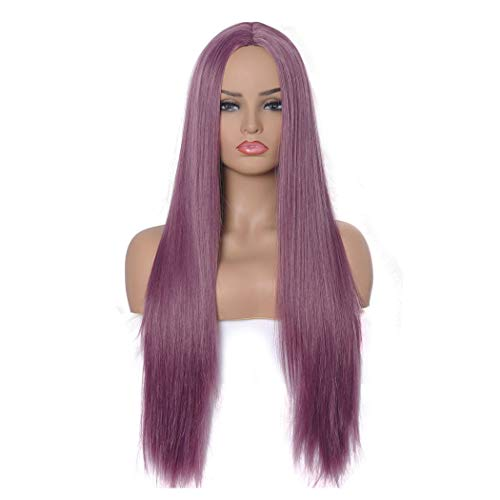 Qaccf Women's Long Straight Middle Part Synthetic Cosplay Costume Full Wig (Purple)