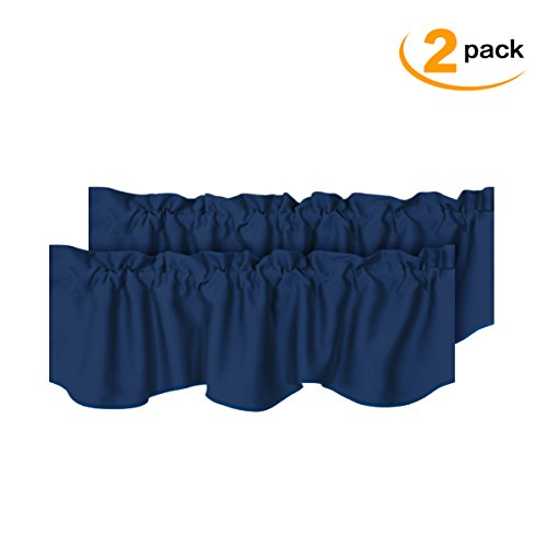 H.VERSAILTEX Privacy Protection Kitchen Valances for Windows Room Darkening Curtain Valances for Bedroom, Rod Pocket Top, 2 Pack, Navy, 52 x 18 (Bedroom Valance)