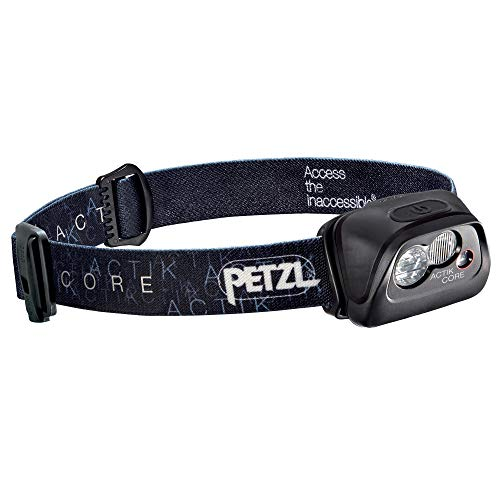 (PETZL - ACTIK CORE Headlamp, 350 Lumens, Rechargeable, with CORE Battery, Black)