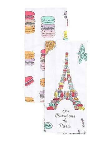 Amazoncom Jabara Kitchen Towel Set Macroons Eifel Tower