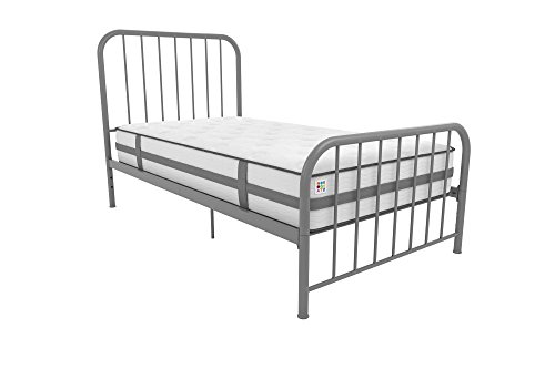 Novogratz Bellamy Twin Metal Bed with Adjustable Height, Grey