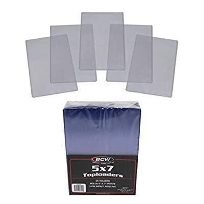 (5) 5x7 Photo Topload Holders - Rigid Plastic Sleeves - BCW Brand: Sports & Outdoors