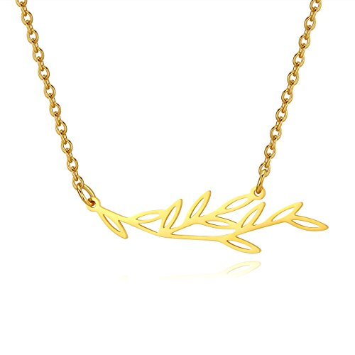 TOUGHARD Minimalist Stainless Steel Olive Branch Leaves Pendant Necklace, Delicate Jewelry for Girls Women - Branch 18k Gold