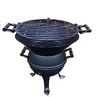 Dreibein Grill schwarz klein Tripod Camping Balkon Picknick ✔ rund dreieckig ✔ tragbar ✔ Grillen mit Holzkohle ✔ mit Dreibeinen