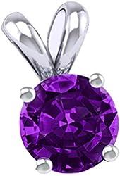 925 Cubic Zirconia Synthetic Birthstones Necklace 2.00 Carat Round Pendant.