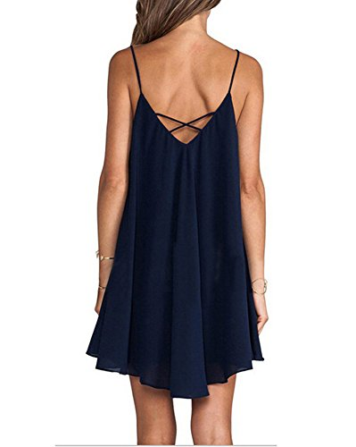 Mujeres Tamaño 6XL Las Mini Gasa Mini Corto Camisolas S V Verano Vestido Grande Verano Sólido Cuello Vestido Azul Casual Boho de Sexy de drT1qwpAr