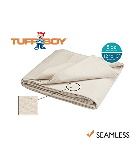 Tuff Boy Cotton Canvas Drop Cloth, Seamless, 12 x 15 Feet, 8 oz (Bedding Cloth Drop)