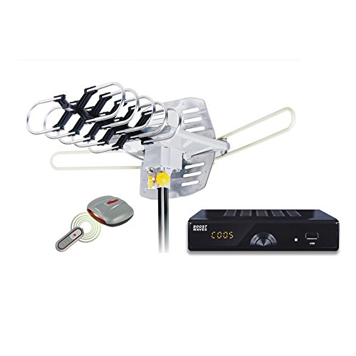 Complete Free TV Package! Amplified HD Digital Outdoor HDTV Antenna Motorized 360° Rotation, UHF/VHF/FM Radio Remote Control for 2 TVs -Installation Kit Includes Mounting Pole and Converter Box $0/mo
