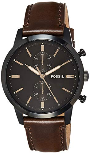 Fossil Men's Townsman Stainless Steel Analog-Quartz Watch with Leather Calfskin Strap, Brown, 21.3 (Model: FS5437) (Fossil Watches Black Leather)