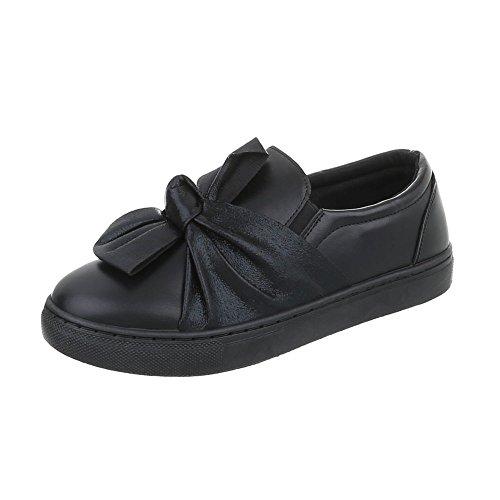 Ital-Design Chaussures Femme Baskets Mode Plat Sneakers Espadrilles Low Noir R-3-1