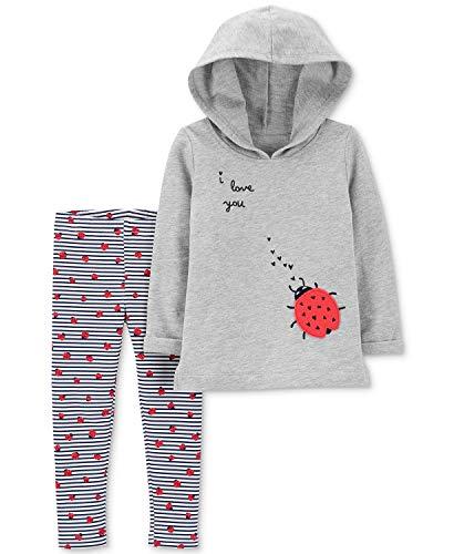 - Carter's Baby Girls 2-Pc. Ladybug Hoodie & Leggings Set Multi (24 Months), Grey/Navy Striped/Lady Bugs