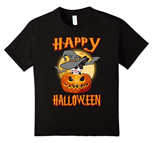 Kids Boston Terrier Dog Happy Halloween T-shirt Pumpkin Costumes 12 Black