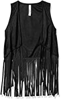 Beautees Girls' Suede Vest with Fringe