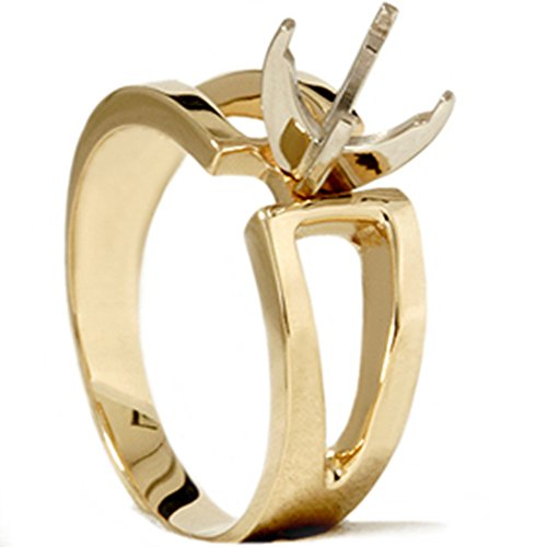Contemporary Solitaire Engagement 14K Yellow Gold Ring Modern Setting Mount 4-9 14k Yellow Gold Mount