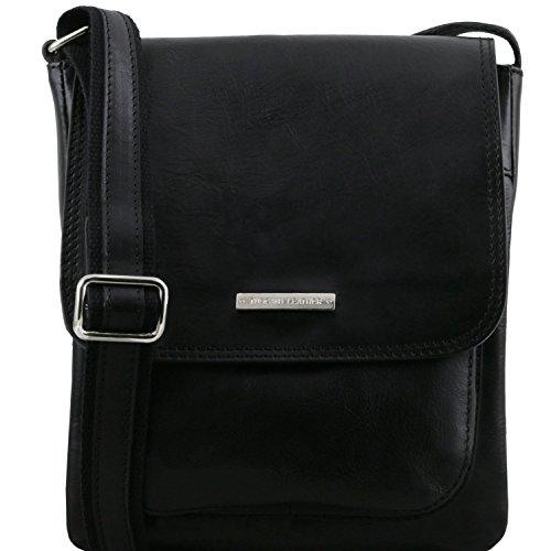 Tuscany Leather Jimmy Bolso para hombre en piel con bolsillo delantero Miel Negro