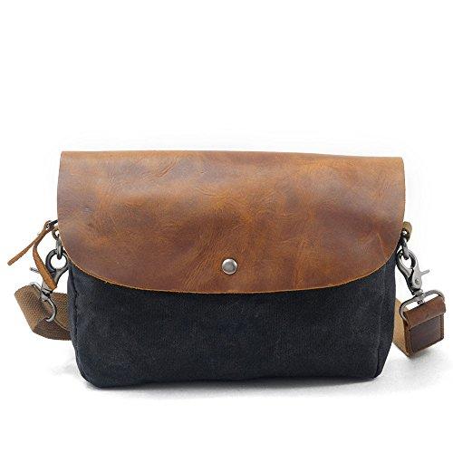 NONGNIML Bolsos bandolera Cloth Bag Vintage Leisure Bag Bolso de cuero Canvas Bolsas de hombro Crossbody PacketUnisex para Wallet Travel Shopping Camping, Coffee negro