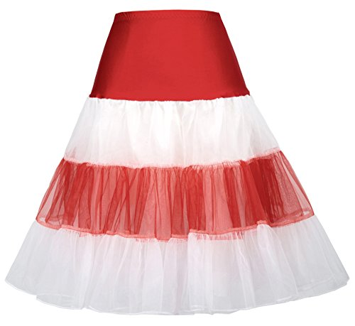 Women Luxury Petticoat in Christmas Theme Party(S,Red&White) (Classic Christmas Themes Party)