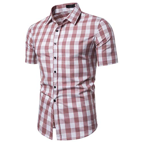 LUCAMORE Mens Plaid Casual Shirts - Button Down Short Blouse Summer Standing Collar Tops Red -