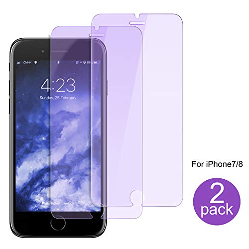 iPhone 8/7 Screen Protector Tempered Glass, 2-Pack Tempered Glass Screen Protector 9H Hardness Anti-Scratch Eyes-Protection Film for iPhone 8/7 (4.7 inch) - Bluelight Filter