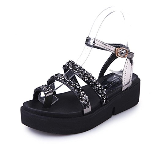Hunpta Frauen Gladiator flache Strass Sandalen Sommer Mode Sandalen Schuhe Schwarz