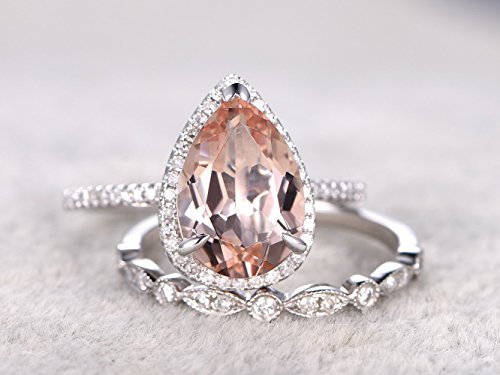 - 8x12mm Pear Shaped Cut Natural Peach Pink Morganite Gemstone Ring Set Diamond Halo Claw Rings,Half Eternity Diamonds 14k White Gold Marquise Milgrain Wedding Promise Matching Band Sets