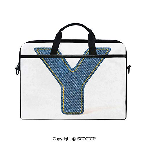 Printed Laptop Bags Notebook Bag Covers Cases ABC of Vintage Fashion Theme Jeans Fabric Denim Texture and Uppercase Y Image Decorative with Adjustable Strip and Zipper Closure