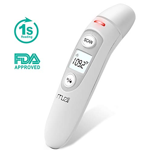 Baby Thermometer for Fever, Muzili Forehead Ear Digital Thermometer Medical 5 in 1 Functions, 1s Accurate Reading, Fever Indicators, Smart Temporal Thermometer for Kids Infant Toddler Adult
