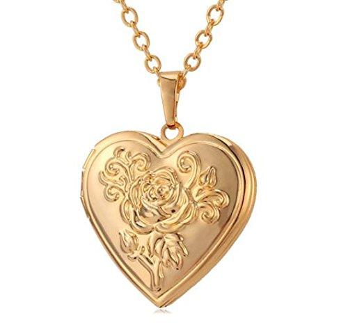 2pcs/set Photo Frame Memory Locket Pendant Necklace Silver/Gold Color Romantic Love Heart Vintage Rose Flower Jewelry Women Gift (Elephant Coin Set)