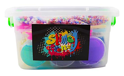 48 Piece Slime Kit for Making DIY Crystal Clear Rainbow Unicorn Slime 24 Colors Slime 6 Pack Foam Beads 5 Animal Molds Fruit Slices and Glitter Accessories for Boys and Girls for an Ultimate Slime Kit by Fun Frenzy (Image #1)