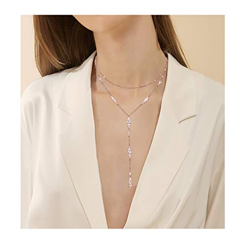 (Seni Double Layered Y Shape Chain Crystal Choker Necklace Rhinestone Crystal Long Bar Pendant Necklace for Women Girls (Rose Gold))