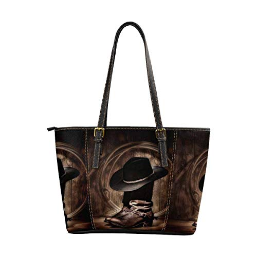 InterestPrint Tote with Shoulder Length Handles Purses Vintage American Western Cowboy Hat and Boot ()