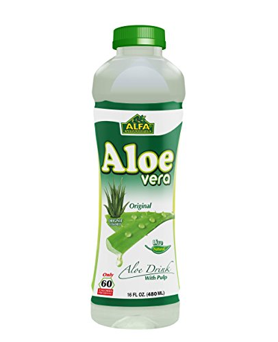 Aloe Vera Drink / Original Flavor with Pulp / Essential Minerals / Antioxidants / Vitamins - 16 oz bottle - 12 (Aloe Pulp)