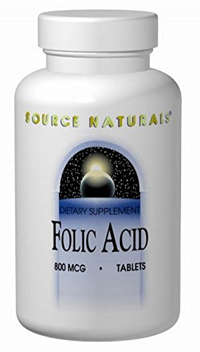 Folic Acid, 800 mcg, 1000 Tabs by Source Naturals (Pack of 4)