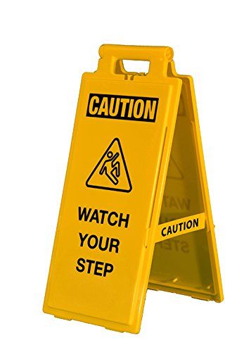 Cortina 03-600-38 Caution Watch Your Step Floor Warning Sign, Yellow