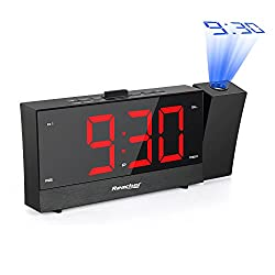 Reacher Projection Alarm Clock Radio with 5.5 Full Range Dimmer Digital LED Display Sleep Timer Radio Dual Alarms Snooze Timer Outlet Powered Dual USB Charger Ports for Bedrooms Bedside iPhone Phone