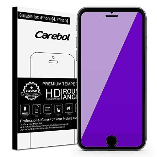 Carebol Anti Blue Light Tempered Glass Screen Protector for iPhone 8,7,6s,6 [4.7 inch] Eye Protect, Explosion-Proof Screen, High Definition [1 Pack]