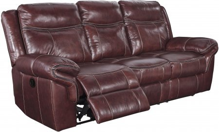 Ashley Zephen U7440088 94″ Leather Match Reclining Sofa with Contrast Stitching Thick Padded Arms and Gently Distressed Upholstery in Mahogany
