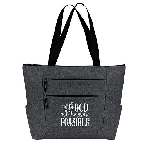 With God All Things Are Possible Inspirational Quote - Religious Zippered Tote Bag for Women - Christian Religious Church Gift (With God Gray)