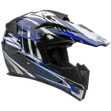 Vega Helmets MIGHTY X Kids Youth Dirt Bike Helmet – Motocross Full Face Helmet for Off-Road ATV MX Enduro Quad Sport, 5 Year Warranty (Blue Blitz Graphic,Large)