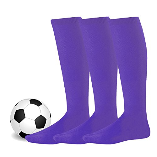 Soxnet Soccer Sports Team 3-pair Cushion Socks-Purple, Junior - Spandex Purple Acrylic