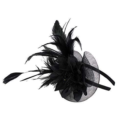 LEXUPA Women Fashion Wedding Mesh Hat Fascinator Penny Ribbons and Feathers Party (One -