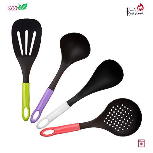 Cooking Utensil set – Best Nonstick Nylon Accessories Kitchen Gadgets for Home – Spatula set Resistant – Ladle, Skimmer, Turner and Spoon – Reusable Kitchen Ware Set 4 Pieces